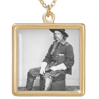 General George A. Custer (b/w photo) Square Pendant Necklace