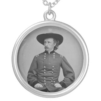 General George Armstrong Custer by Mathew Brady Round Pendant Necklace