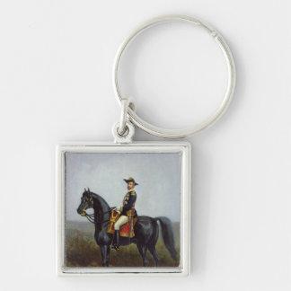 General George Ernest Boulanger Silver-Colored Square Key Ring