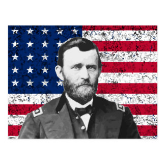 General Grant and The American Flag Postcard