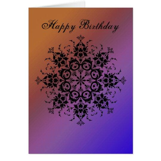 General - Happy Birthday - Damask Flourish Card
