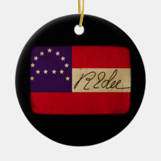 General Lee Headquarters Flag with Signature Round Ceramic Decoration
