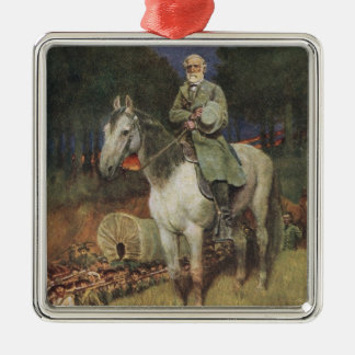 General Lee on his Famous Charger, 'Traveller' Silver-Colored Square Decoration