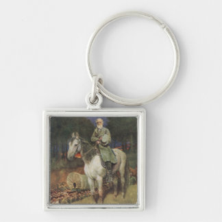 General Lee on his Famous Charger, 'Traveller' Silver-Colored Square Key Ring