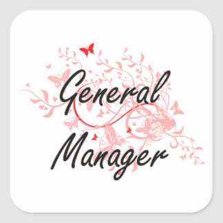 General Manager Artistic Job Design with Butterfli Square Sticker