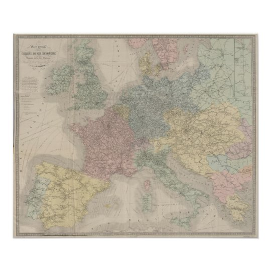 General map of European Railways Poster