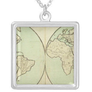 General Map Silver Plated Necklace