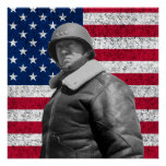 General Patton and The American Flag Poster