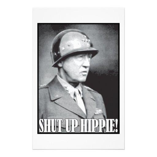 General Patton says Shut Up Hippie! Stationery