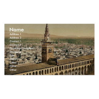 General view and Minaret of the Bride, Damascus, H Business Card Templates