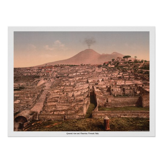 General view and Vesuvius, Pompeii, Italy Poster