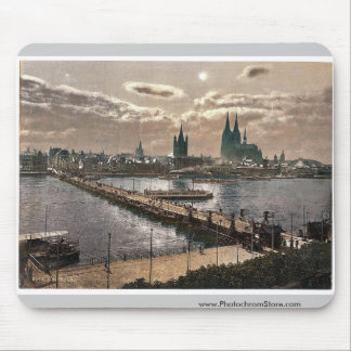 General view, by moonlight, Cologne, the Rhine, Ge Mouse Pads