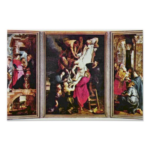 General View From The Cross Triptych By Rubens Poster