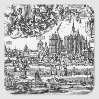 General View of Cologne, 1531 (engraving) (b/w pho Square Sticker