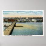 General View of MIT and Harvard Bridge, Poster