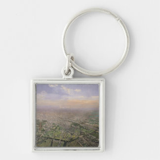 General view of Paris from a hot-air balloon Key Ring