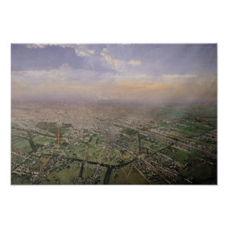 General view of Paris from a hot-air balloon Poster