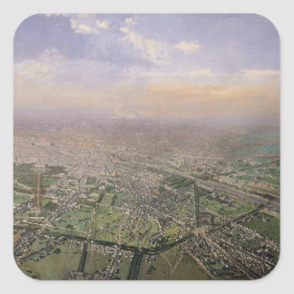 General view of Paris from a hot-air balloon Square Sticker