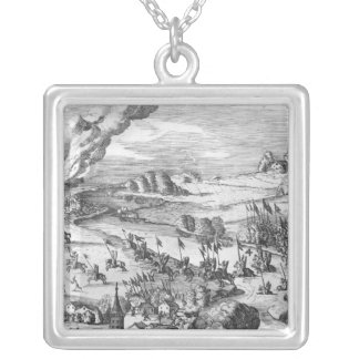 General view of the battle of Muhlberg Silver Plated Necklace