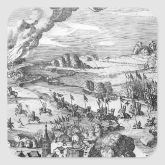 General view of the battle of Muhlberg Square Sticker