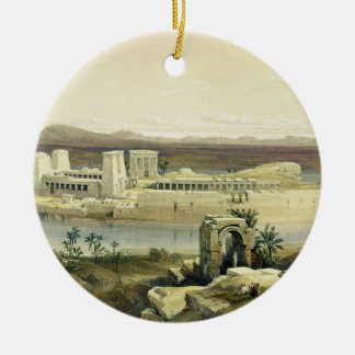 General View of the Island of Philae, Nubia, from Round Ceramic Decoration