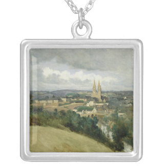 General View of the Town of Saint-Lo, c.1833 Silver Plated Necklace