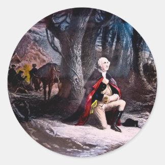 General Washington Praying at Valley Forge, PA Round Sticker