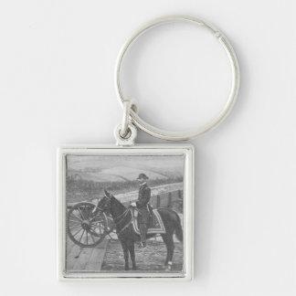 General William Tecumseh Sherman at Atlanta Silver-Colored Square Key Ring