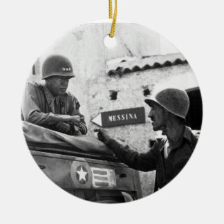 Generaly George S. Patton and Colonel Lyle Bernard Double-Sided Ceramic Round Christmas Ornament