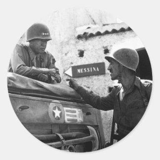 Generaly George S. Patton and Colonel Lyle Bernard Round Sticker