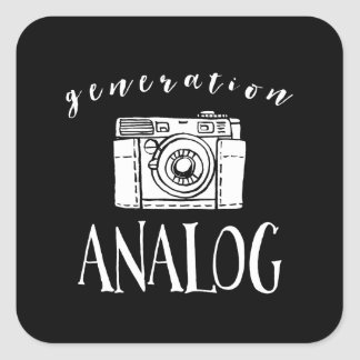 Generation Analog Vintage Camera Photographer Square Sticker