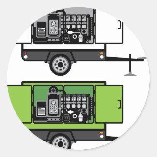 Generator trailer vector round sticker