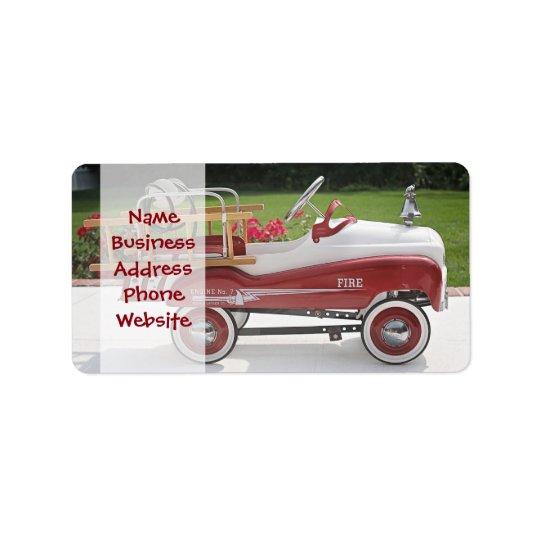 Generic Childs Metal Pedal Car Firetruck Car Address Label