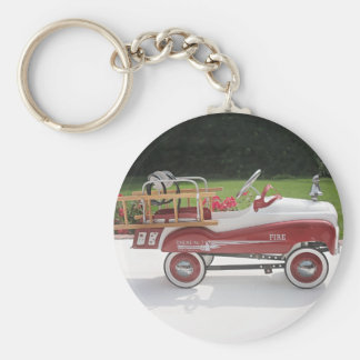 Generic Childs Metal Pedal Car Firetruck Car Basic Round Button Key Ring