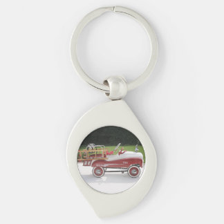 Generic Childs Metal Pedal Car Firetruck Car Silver-Colored Swirl Key Ring