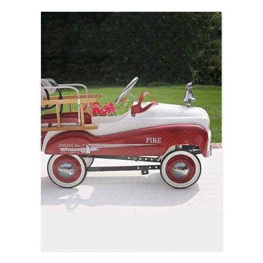 Generic Childs Metal Pedal Car Firetruck Car Postcard