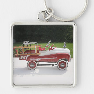 Generic Childs Metal Pedal Car Firetruck Car Silver-Colored Square Key Ring