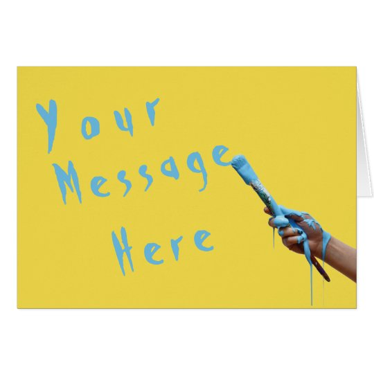 Generic Message Hand Painting Blue Text Card