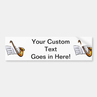 Generic saxophone with sheet music graphic image bumper sticker