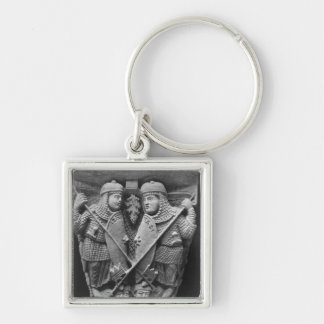 Generosity and Charity piercing two Vices Silver-Colored Square Key Ring