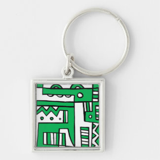 Generous Quality Grin Practical Silver-Colored Square Key Ring