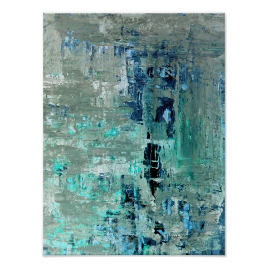 'Generous' Turquoise Abstract Art Poster