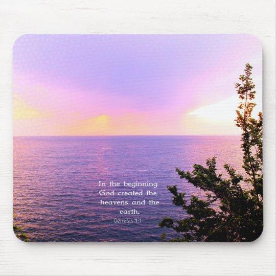 Genesis 1:1 BEAUTIFUL BIBLE VERSE Mouse Pad