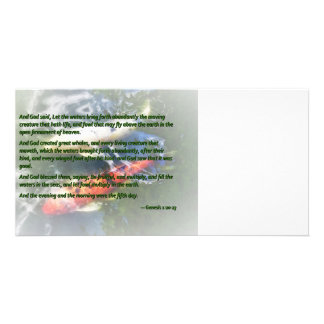Genesis 1 20-23 And God said, Let the waters bring Personalised Photo Card