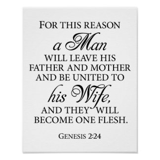 Genesis 2:24 B&W Wedding Love Quote 11 x 14 Poster