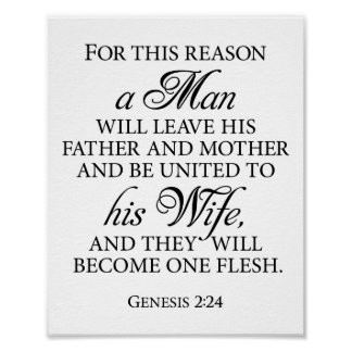 Genesis 2:24 B&W Wedding Love Quote 8 x 10 Poster