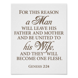 Genesis 2:24 Dark Gold Wedding Love Quote 11 x 14 Poster