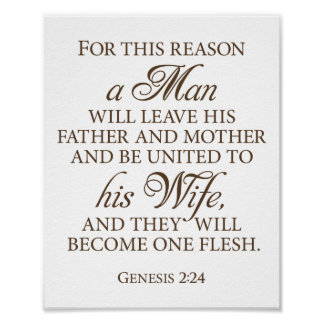 Genesis 2:24 Dark Gold Wedding Love Quote 8 x 10 Poster
