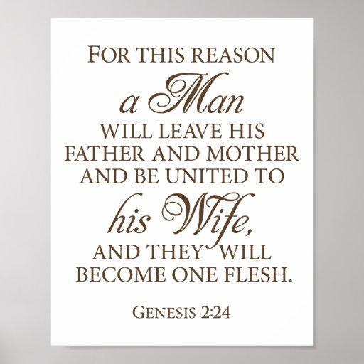 Genesis 2:24 Dark Gold Wedding Love Quote 8