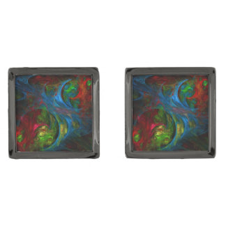 Genesis Blue Abstract Art Gunmetal Finish Cuff Links
